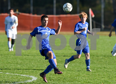 11/8/17  Wesley Bunnell | Staff  Southington boys soccer was defeated in the CIAC tournament on Wednesday afternoon in a match against Glastonbury at Glastonbury High School. Colin Burdette (4).