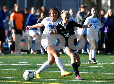 11/9/2017 Mike Orazzi | Staff Bristol Eastern's Brooke Dauphinee (19) and Joel Barlow's Bella Cohen (28) during Thursday's Class L Second Round Girls Soccer in Bristol.