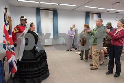 11/8/17  Wesley Bunnell | Staff  Set in 1879 Sally Mummey performed as Queen Victoria, Queen of Great Britain and Empress of India at the Berlin-Peck Library on Thursday afternoon.  Visitors line up for photos at the conclusion of the performance.