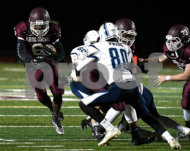 11/9/2017 Mike Orazzi | Staff Bristol Central's Frankie Jenkins (6) against East Catholic at BC Thursday night.