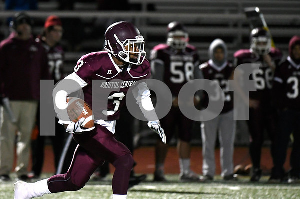 11/9/2017 Mike Orazzi | Staff Bristol Central's Dathan Hickey (3) scores an early TD against East Catholic at BC Thursday night.
