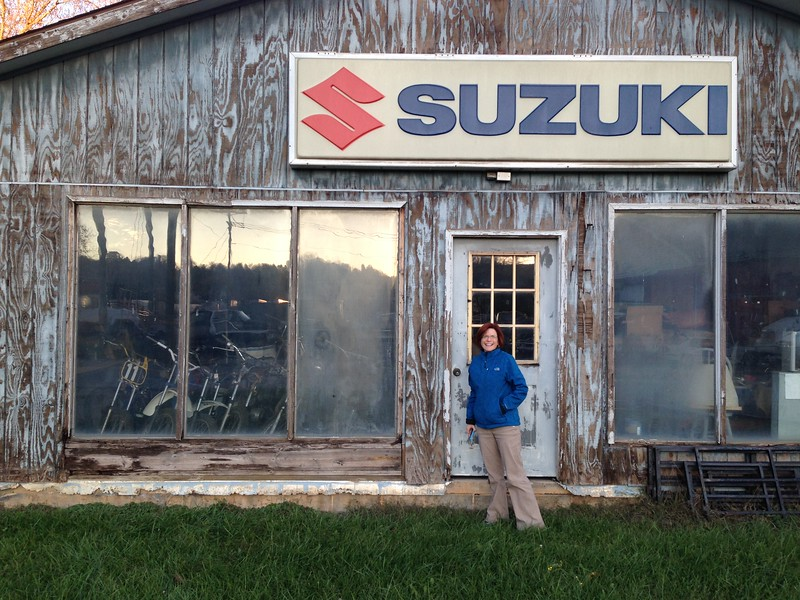 Once we were set up at our campsite, we decided to drive about 45 minutes to Galax, VA, for a special event. In Galax (on the way to a brewpub) we stumbled across this ancient Suzuki shop. It was extremely cool.