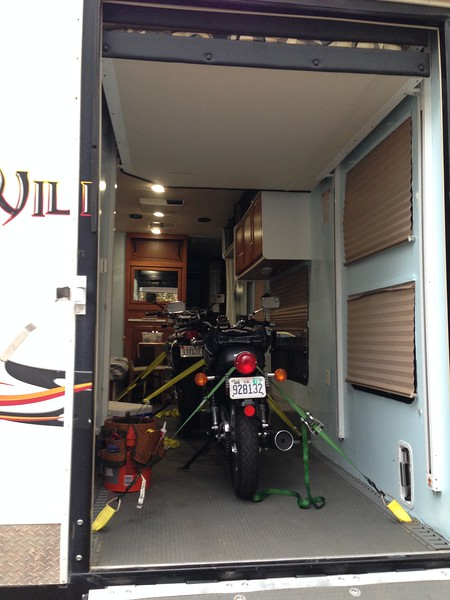 Weds. 11/8.<br /> Day -2.<br /> <br /> Two Suzukis are getting ready for their longest trip ever away from home!<br /> <br /> Everything is tied down and the RV is loaded with: bike tools; RV tools; camping gear (all); cooler (empty); RV winterizing stuff including all its weather covers; air compressor; and riding gear (mostly).<br /> <br /> The RV winterizing stuff is because we're leaving it in Amarillo (TX) at a big RV storage and repair place, rather than hauling it all the way back here so it can sit in the driveway for four months.<br /> <br /> It's going to get really cold for the next few days, so we're not going to load up the groceries until we leave Friday morning. We're making granola, a fiery veggie curry, and bison ragu, which should hold us for dinners for a couple weeks. All that's really left to pack, besides the food, is our everyday clothes.