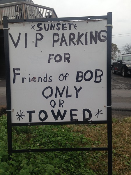 We aren't friends of Bob, so we didn't dare park here.