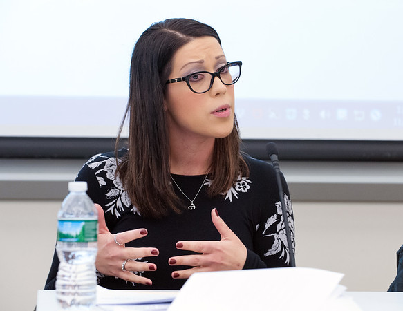 11/05/18 Wesley Bunnell | Staff The Tunxis Civic Engagement Institute held a discussion on Monday afternoon at Tunxis Community College featuring experts from Wheeler Clinic to discuss Mental Health Strategies for Victims and Families of School Shootings. Wheeler Clinic's LCSW Kim Holyst.