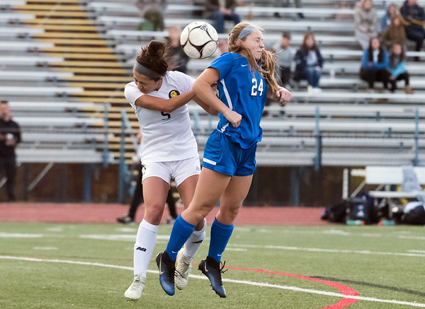 11/07/18 Wesley Bunnell | Staff Southington girl soccer was defeated in PK by Simsbury in a second round Class LL CIAC Tournament game on Wednesday night. Talle Richardson (24).