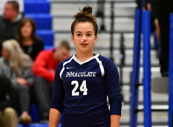 11/7/2018 Mike Orazzi | Staff Immaculate's Isabella Echavarria (24) during the Class S Second Round Girls Volleyball Tournament in Bristol Wednesday night.