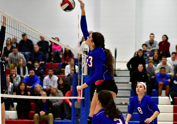 11/7/2018 Mike Orazzi | Staff St. Paul Catholic High School's Kelsi Blatchley (33) during the Class S Second Round Girls Volleyball Tournament in Bristol Wednesday night.