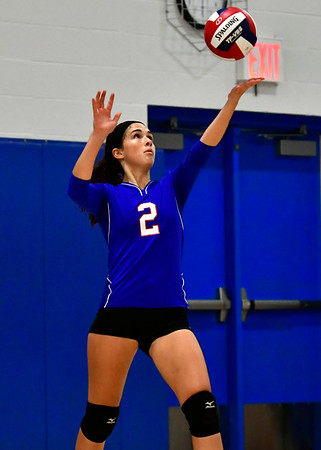 11/7/2018 Mike Orazzi | Staff St. Paul Catholic High School's Greta Panke (2) during the Class S Second Round Girls Volleyball Tournament with Immaculate in Bristol Wednesday night.