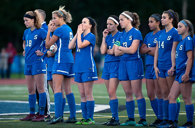 11/07/18  Wesley Bunnell | Staff  Southington girl soccer was defeated in PK by Simsbury in a second round Class LL CIAC Tournament game on Wednesday night. Southington players nervously wait during Simsbury's turn during PK's.