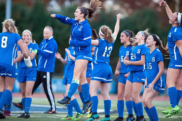 11/07/18 Wesley Bunnell | Staff Southington girl soccer was defeated in PK by Simsbury in a second round Class LL CIAC Tournament game on Wednesday night. Southington players react as they watch Katherine Crouse (20) score during PK's.