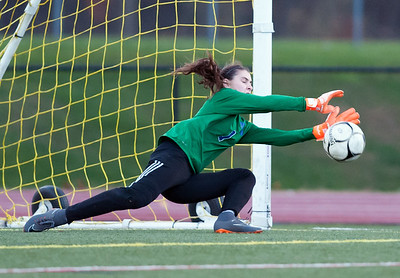 11/07/18  Wesley Bunnell | Staff  Southington girl soccer was defeated in PK by Simsbury in a second round Class LL CIAC Tournament game on Wednesday night. GK Olivia Sherwood with one of several saves during PK's.