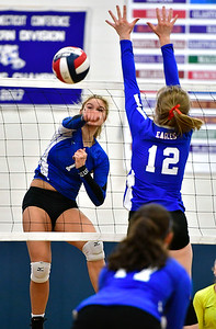 11/10/2018 Mike Orazzi | Staff Bristol Eastern's Zoe Lowe (7) during the Class L Quarterfinal Girls Volleyball Tournament in Bristol Saturday.