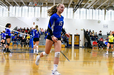11/10/2018 Mike Orazzi | Staff Bristol Eastern's Rebecca Bender (15) during the Class L Quarterfinal Girls Volleyball Tournament in Bristol Saturday.