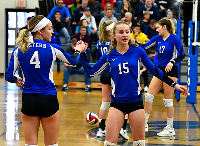11/10/2018 Mike Orazzi | Staff Bristol Eastern's Olivia Beaudoin (4) and Rebecca Bender (15) during the Class L Quarterfinal Girls Volleyball Tournament in Bristol Saturday.