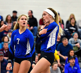 11/10/2018 Mike Orazzi | Staff Bristol Eastern's Zoe Lowe (7) and Ryley Plourde (11) during the Class L Quarterfinal Girls Volleyball Tournament in Bristol Saturday.