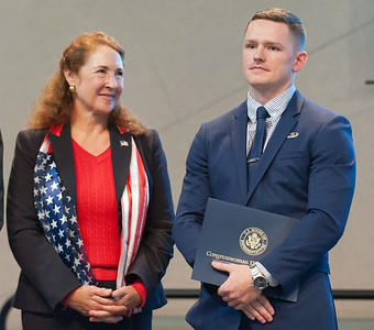 11/12/18  Wesley Bunnell | Staff  CCSU held a Veterans Day Observance on Monday afternoon in Alumni Hall which featured honoring three local veterans. Honoree Joshua Barnett stands onstage with his award standing next to Congresswoman Elizabeth Esty.