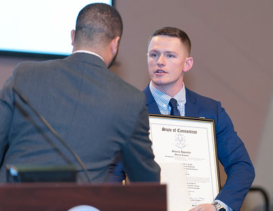 11/12/18  Wesley Bunnell | Staff  CCSU held a Veterans Day Observance on Monday afternoon in Alumni Hall which featured honoring three local veterans. Honoree Joshua Barnett, receives a proclamation from the City of New Britain which was read by New Britain Alderman Kristian Rosado.