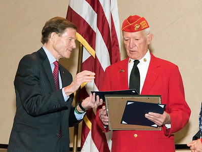 11/12/18  Wesley Bunnell | Staff  CCSU held a Veterans Day Observance on Monday afternoon in Alumni Hall which featured honoring three local veterans.  Senator Richard Blumenthal presents Honoree Jack Truhan with an award.