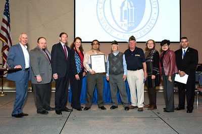 11/12/18  Wesley Bunnell | Staff  CCSU held a Veterans Day Observance on Monday afternoon in Alumni Hall which featured honoring three local veterans. CSCU President Mark Ojakian, Rep. Rick Lopes, Senator Richard Blumenthal, Honoree Mike Curiel, two members of the VFW, State Senator Terry Gerratana, CCSU President Zulma Toro and CCSU veterans coordinator Chris Gutierrez.