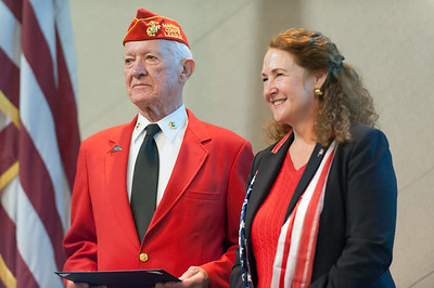 11/12/18  Wesley Bunnell | Staff  CCSU held a Veterans Day Observance on Monday afternoon in Alumni Hall which featured honoring three local veterans. Honoree Jack Truhan poses with Congresswoman Elizabeth Esty.