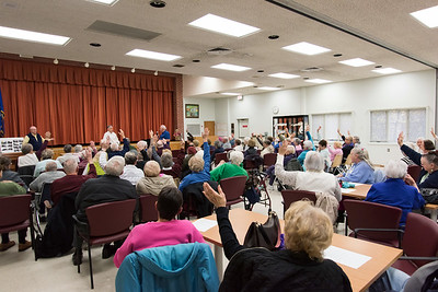 11/13/18  Wesley Bunnell | Staff  A public forum for a potential new community and senior center was held at the Berlin Senior Center on Tuesday afternoon with a packed audience.  Audience members raise their hands after being asked who was opposed to a plan involving the YMCA.