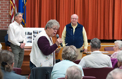 11/13/18  Wesley Bunnell | Staff  A public forum for a potential new community and senior center was held at the Berlin Senior Center on Tuesday afternoon with a packed audience. Audience member Barbara Gombotz speaks to the crowd as Mayor Mark Kaczynski, L, and Town Manager Jack Healy look on.