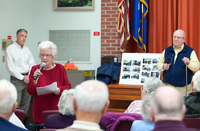 11/13/18  Wesley Bunnell | Staff  A public forum for a potential new community and senior center was held at the Berlin Senior Center on Tuesday afternoon with a packed audience. Berlin resident Cynthia Pavano airs her concerns over the proposals as Mayor Mark Kaczynski, L, and Town Manager Jack Healy look on.