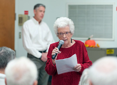 11/13/18  Wesley Bunnell | Staff  A public forum for a potential new community and senior center was held at the Berlin Senior Center on Tuesday afternoon with a packed audience. Berlin resident Cynthia Pavano airs her concerns over the proposals as Mayor Mark Kaczynski looks on.