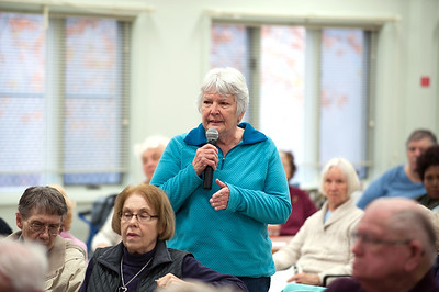 11/13/18  Wesley Bunnell | Staff  A public forum for a potential new community and senior center was held at the Berlin Senior Center on Tuesday afternoon with a packed audience. Audience member Virginia Steele voices her opinions on the proposals.