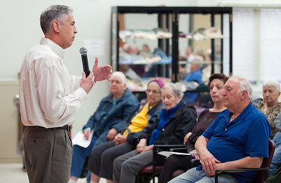 11/13/18  Wesley Bunnell | Staff  A public forum for a potential new community and senior center was held at the Berlin Senior Center on Tuesday afternoon with a packed audience.  Berlin Mayor Mark Kaczynski answers questions brought up by previous speakers.