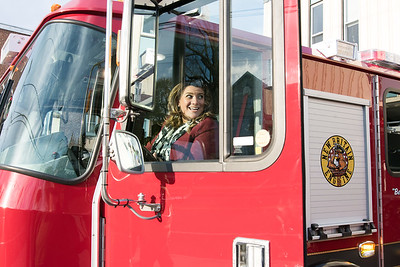 11/14/18  Wesley Bunnell | Staff  The New Britain Fire Department unveiled three new fire trucks on Wednesday afternoon during a ceremony at their Beaver St headquarters. Mayor Erin Stewart sits in the drivers seat of Engine 5 nicknamed Beast From The East.