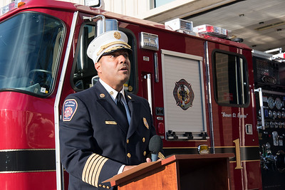 11/14/18  Wesley Bunnell | Staff  The New Britain Fire Department unveiled three new fire trucks on Wednesday afternoon during a ceremony at their Beaver St headquarters. Fire Chief Raul Ortiz speaks while staining to the side of Engine 1.