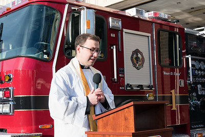 11/14/18  Wesley Bunnell | Staff  The New Britain Fire Department unveiled three new fire trucks on Wednesday afternoon during a ceremony at their Beaver St headquarters. Fr. Michael Casey, Pastor of St. Frances and CCSU Chaplain, gives the blessing to the new fire trucks.