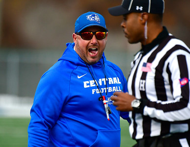 11/17/2018 Mike Orazzi | Staff CCSU football coach Pete Rossomando at Arute Field in New Britain Saturday afternoon for football with Duquesne.