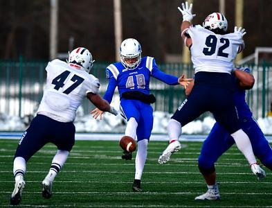 11/17/2018 Mike Orazzi | Staff CCSU's Brandon Desautels (49) at Arute Field in New Britain Saturday afternoon.