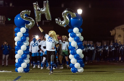 11/19/18  Wesley Bunnell | Staff  Southington powder puff football vs Rocky Hill on Monday night at Southington High School. Cheerleader Tyler Vade.