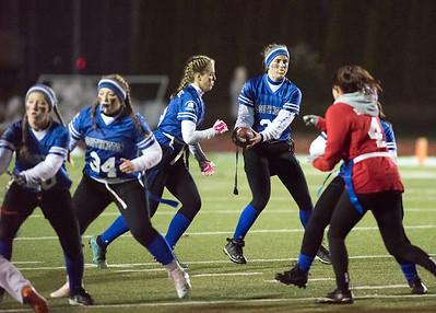 11/19/18  Wesley Bunnell | Staff  Southington powder puff football vs Rocky Hill on Monday night at Southington High School. QB Gabby Malachowski (33).