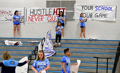 11/20/2018 Mike Orazzi | Staff Bristol Eastern High School students while decorating the gym for Wednesday pep rally Tuesday evening.