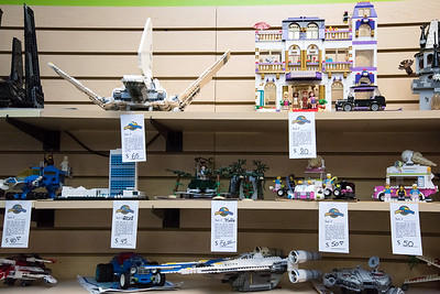 11/21/18  Wesley Bunnell | Staff  Pre built Lego sets lined up for sale in anticipation of the upcoming kickoff to holiday sales on Wednesday afternoon at Bricks and Minifigs in Southington.
