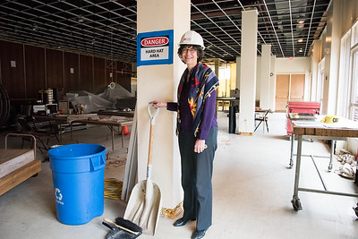 11/21/18  Wesley Bunnell | Staff   Rev. Jane H. Rowe of South Church stands amidst the construction currently underway on Wednesday afternoon.