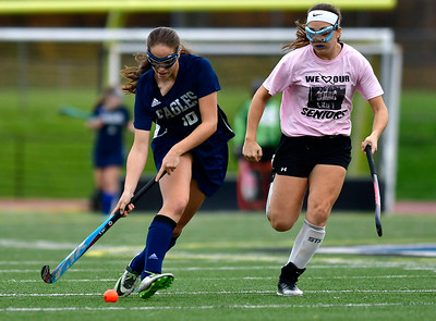 11/2/2018 Mike Orazzi | Staff Wethersfield's Audrey Mainville (16) during field hockey at Southington High School Friday.