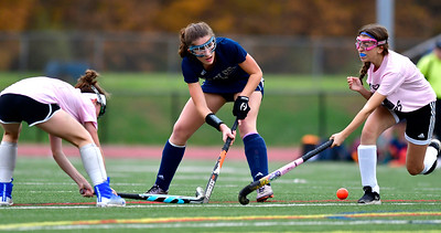 11/2/2018 Mike Orazzi | Staff Wethersfield's Kate Anzidei (5) during field hockey at Southington High School Friday.