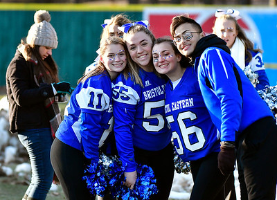 11/23/2018 Mike Orazzi | Staff Bristol Eastern High School cheerleaders during the Battle for the Bell at Muzzy Field Friday. Central won 24-19.