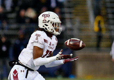 11/24/2018 Mike Orazzi | Staff Temple's Isaiah Wright (13) on his way to a kick off return during Saturday's Uconn football game at Rentschler Field in East Hartford.