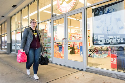 11/26/18  Wesley Bunnell | Staff  Mackenzie Litke of Plainville walks past Five Below after shopping at Sephora's on Monday afternoon.