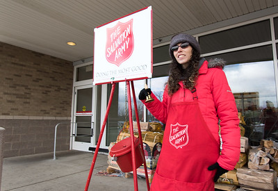 11/27/18  Wesley Bunnell | Staff  Idalys Centeno ringing the Salvation Army Bell on Tuesday afternoon outside of Stop & Shop in Berlin.