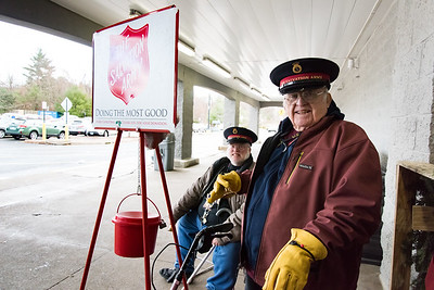 11/27/18  Wesley Bunnell | Staff  Father & son Paul Morgan, L, and Clayton Morgan Jr. work as bell ringers outside of the Walmart in Bristol on Tuesday afternoon.