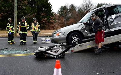 11/30/2018 Mike Orazzi | Staff The scene of a two-car crash on Middle Street Friday afternoon. No injuries were reported.