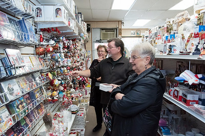 11/30/18  Wesley Bunnell | Staff  Irena Wurszt, L, Christopher Bolek and his mother Sandy Bolek drive from Mass. to Quo Vadis Bookstore & Giftshop a couple of times a year around the holidays to shop for Polish themed gifts.